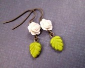 Flower and Leaf Earrings, White Rose Blossoms, Bright Green Leaves, Brass Dangle Earrings, FREE Shipping U.S.