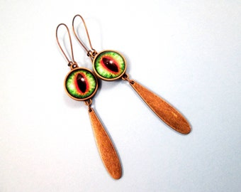 Eye See You, Eyeball Earrings, Green Yellow Orange and Black, Brass Dangle Earrings, FREE Shipping U.S.