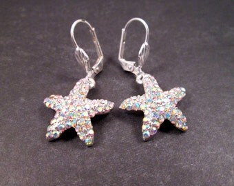 Rhinestone Starfish Earrings, White Rhinestones and Silver Star Fish Dangle Earrings, FREE Shipping U.S.