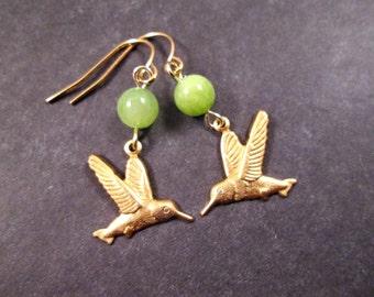 Hummingbird Earrings, Green Jade Gemstone, Gold Dangle Earrings, FREE Shipping U.S.