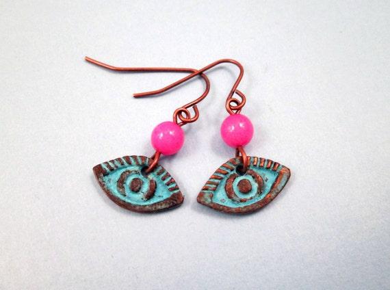 EYE Earrings, Blue Copper Patina and Hot Pink Dangle Earrings, FREE Shipping U.S.