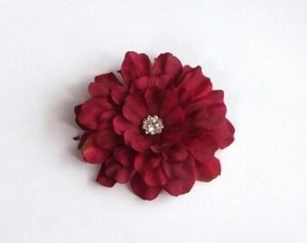 Dark Red Zinnia Flower Hair Pin / Hair Clip