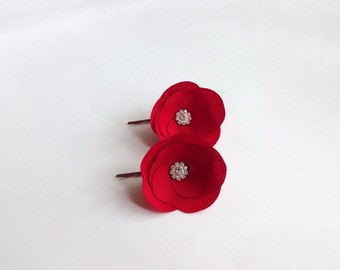 Red Fabric Flowers Hair Pins or Shoe Clips