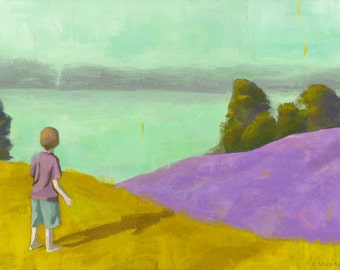 Clarity - Original Acrylic Painting of a boy in a landscape looking at the view boy room nursery art