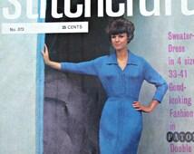 Sweater Knitting Patterns Stitchcraft Magazine 373 January 1965 Dress Turtleneck Cardigan Doily Women Men Vintage Paper Original, NOT a PDF