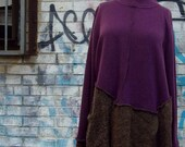1x 2x XXL Asymmetric Sweater Tunic Purple Charcoal Gray