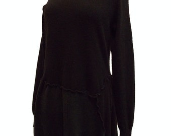 Sale Asymmetric Ruffle Sweater Tunic M Medium Recycled Cashmere Eco Friendly Women Black