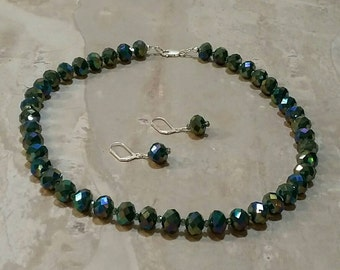 Faceted green Crystal necklace and earring set
