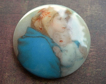 MOTHER with CHILD Vintage Glass Cabochon 30mm Round