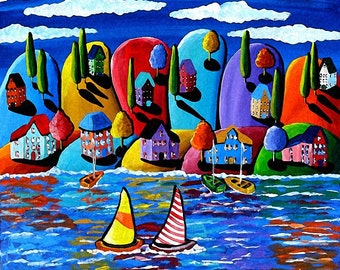 Sailboats Houses Trees Shoreline Canvas Whimsical Colorful Folk Art Original Painting
