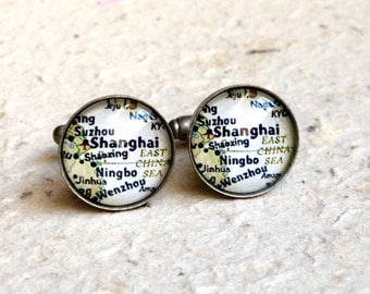 Shanghai, China Map Cufflink Set - Choose your favorite map from 25 different maps