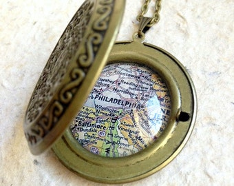 Philadelphia, Pennsylvania Map Locket - Featuring Allentown, Hershey, York, Harrisburg, and more - YOU pick your favorite map from 25 maps