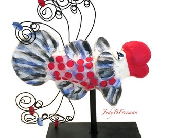 Fish Figurine Polymer Clay Sculpture Collectible and Cute Red Dots Made to Order FS0036