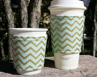 FREE SHIPPING UPGRADE with minimum -  Fabric coffee cozy set / cup sleeve / coffee sleeve / cup cozy / Mint and gold chevron