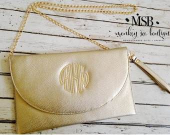Three Way Clutch in Gold, Cream, Black, Navy, Camel and Dove - monogrammed - clutch - cross body - wristlet - bridesmaid gift - birthday