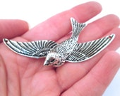 2 bird connecter pendants, 75x39mm, D240