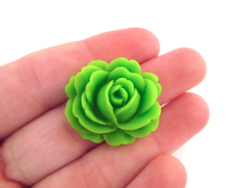 Green cabbage rose cabochons 26x22mm flower cabs