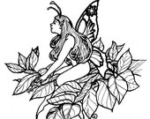 Downloadable coloring page Summer Tree Fae fantasy art