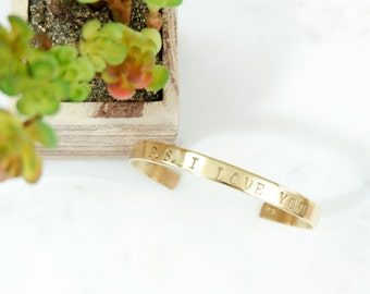 ps i LOVE YOU Hand Stamped Metal Brass Cuff Bracelet