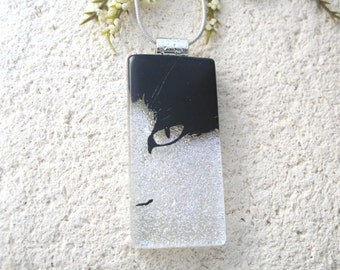 Slim Black Cat, Cat Necklace, Dichroic Necklace, Dichroic Jewelry, Fused Glass Jewelry, Necklace Included,Black White Pendant, 072716p101