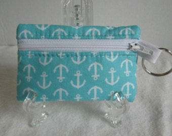 Anchor Coin Purse - Nautical Change Purse - Key Chain Coin Purse - Anchors Ear Bud Case - Aqua Small Zippered Pouch - Beach Change Purse