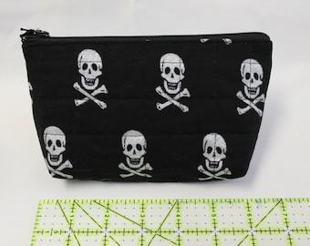 Glitter skull and crossbones cosmetic bag!