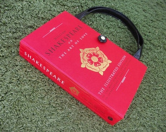 Book Purse Complete William Shakespeare on The Art Of Love, Handmade Womens Handbag, Recycled Upcycled Bag, Clutch Purse