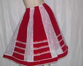 Red Lace Velvet Skirt Vintage Valentine Party Hippie Boho Midi Retro Skirt White Lace Panel Trim Vtg Valentines Day 22-36 Waist Adult