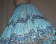 Blue Silver Skirt Square Dance Tier Sissy Costume New Year Party Skirt Mexican Fiesta Trim Folk Country Cotton Vintage 60s adult 32 waist