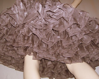 Chocolate Brown Crinoline Skirt Halloween Costume Slip Petticoat Vtg Made in Detroit Huge Vintage Square Dance Fluffy Party Adult S to Plus