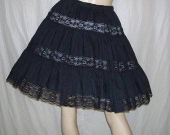 Black Lace Skirt Lacey Peek a Boo Tier Sissy Costume Mexican Fiesta Dias Los Muertas Folk Country Cotton Vintage 70s adult S-XL