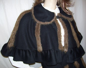 Victorian Fur Suit Black Cape Aline Skirt Muff with Nutria Fur OOAK Costume Adult Ice Skating Christmas Party Caroling Wool Furry Suit