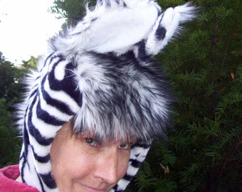 Fur Zebra Hat Halloween Costume Hood Warm Winter Striped Black White Hood Furry Woodland Animal Geek Adult Child Kids Party Hat Gift