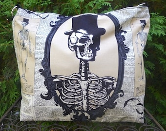 Skeleton large zippered purse, project bag, shoulder bag, cross body bag, Skeleton Cameo, The Britta