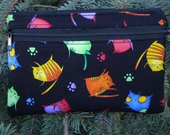 Cat mini wallet, optional wristlet, shoulder strap or belt bag, iPhone 6 Plus wallet, Jumpy Cats, Wisteria