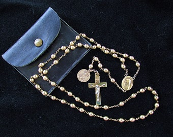 Vintage 12K Yellow Gold Filled Rosary Beads and Leather Pouch