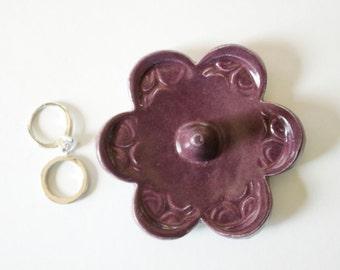 Ring Holder Dish, Glazed in Deep Purple
