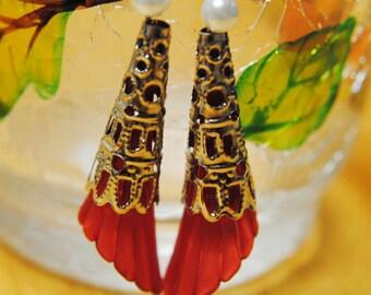Earrings, Long Red Earrings, Dangle Earrings, Silver, White, Red Earrings, Fishook Earrings, Mothers Day, Christmas, Holiday Jewelry