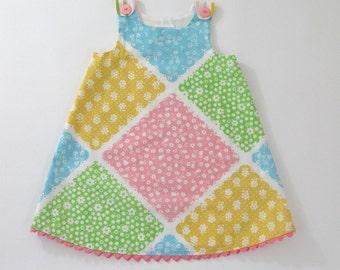 Pastel Retro Floral Girls' Dress - Newborn Dress, Baby Dress, Toddler Dress - Children's Clothing Size Newborn to Girls' 6 - Vintage Fabric