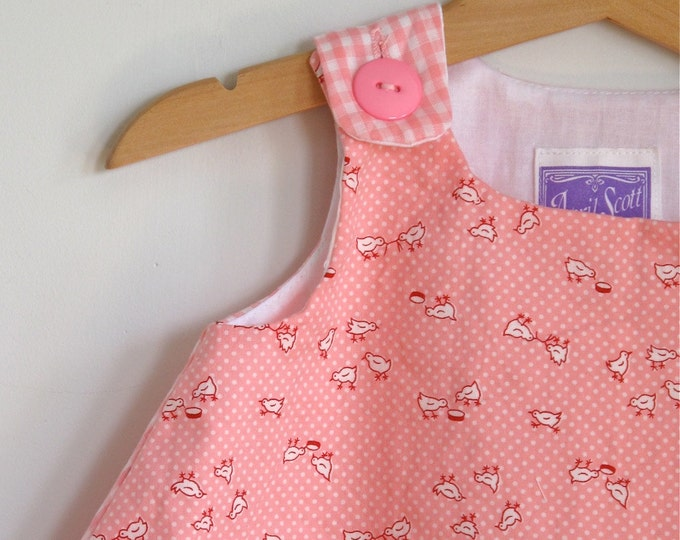 Pink Chicks Gingham Baby, Toddler, Girls' Dress - Sizes Newborn to Girls' 4T Summer Dress - Farm Animals Country Girl Dress Baby Clothing
