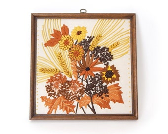 Vintage 70s Floral Crewel Embroidery in Frame - Orange Yellow Brown Flowers and Leaves Framed Crewel- Retro Wall Decor Square