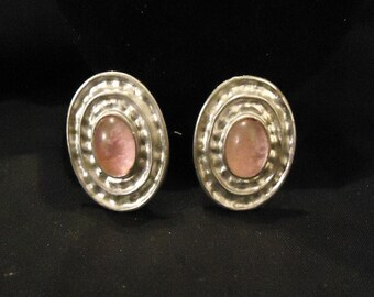 Vintage Silver Oval with Light Pink Gems Clip Earrings