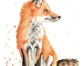 Sitting Fox Watercolor Painting Print in sizes 5x7, 8x10, and 11x14