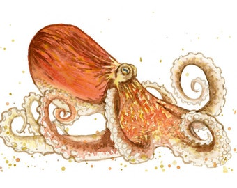 Orange Octopus Watercolor Painting Print in sizes 5x7, 8x10, and 11x14