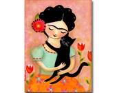 Cat Folk Art painting Frida Kahlo with Black Cat ORIGINAL acrylic painting on canvas by artist TASCHA