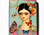 Original Mixed Media FRIDA with butterflies and roses painting Frida Kahlo folk art original by Tascha 12x9