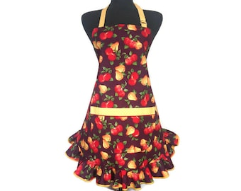 Apples and Pears Apron for women , Retro Style Ruffle with yellow polka dot trim , Fruit kitchen decor , Flirty Pin up Girl Apron