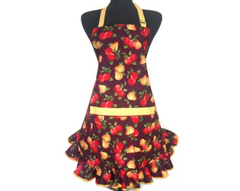 Adjustable Retro Style Kitchen Apron for Women, Apples and Pears on Plum with Yellow Polka Dot Trim, Handmade with Pocket and Ruffle