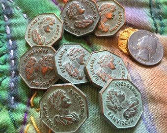 DESTASH 8 Matching Copper-toned Plastic Coin Style Shank Buttons in Good Condition