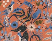 Cotton + Steel Les Fleurs canvas - folk birds - peach - fat quarter - PRESALE